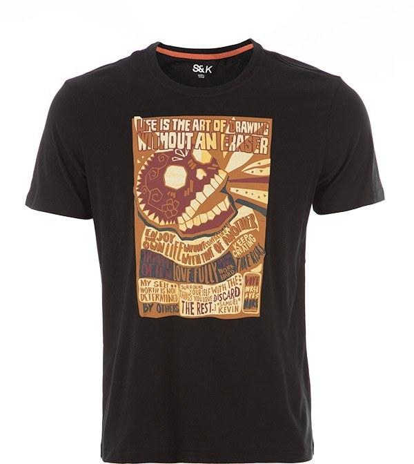 تی شرت نخی مردانه مشکی ساموئل اند کوین S&k