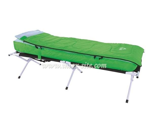 تخت خواب فلزی با تشک بادی و کیسه خواب