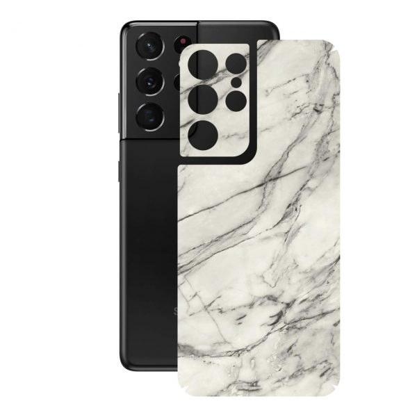 تصویر برچسب پوششی راک اسپیس طرح Marble-WH مناسب برای گوشی موبایل  سامسونگ  Galaxy S21 Ultra