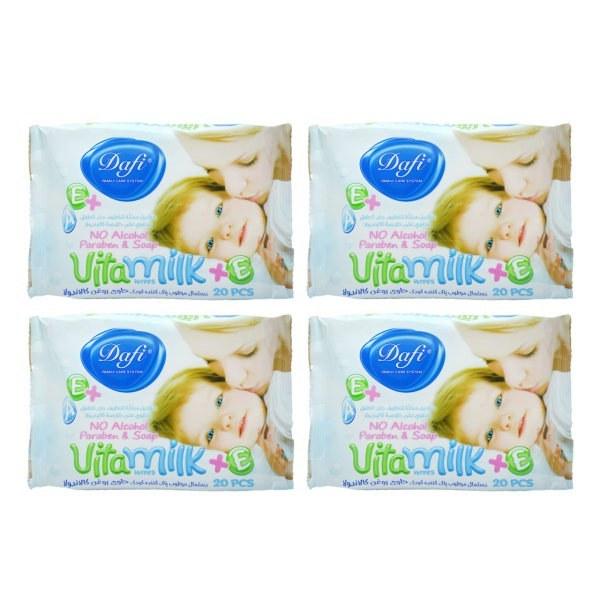 تصویر دستمال مرطوب کودک دافی مدل Vita Milk مجموعه 4 عددی
