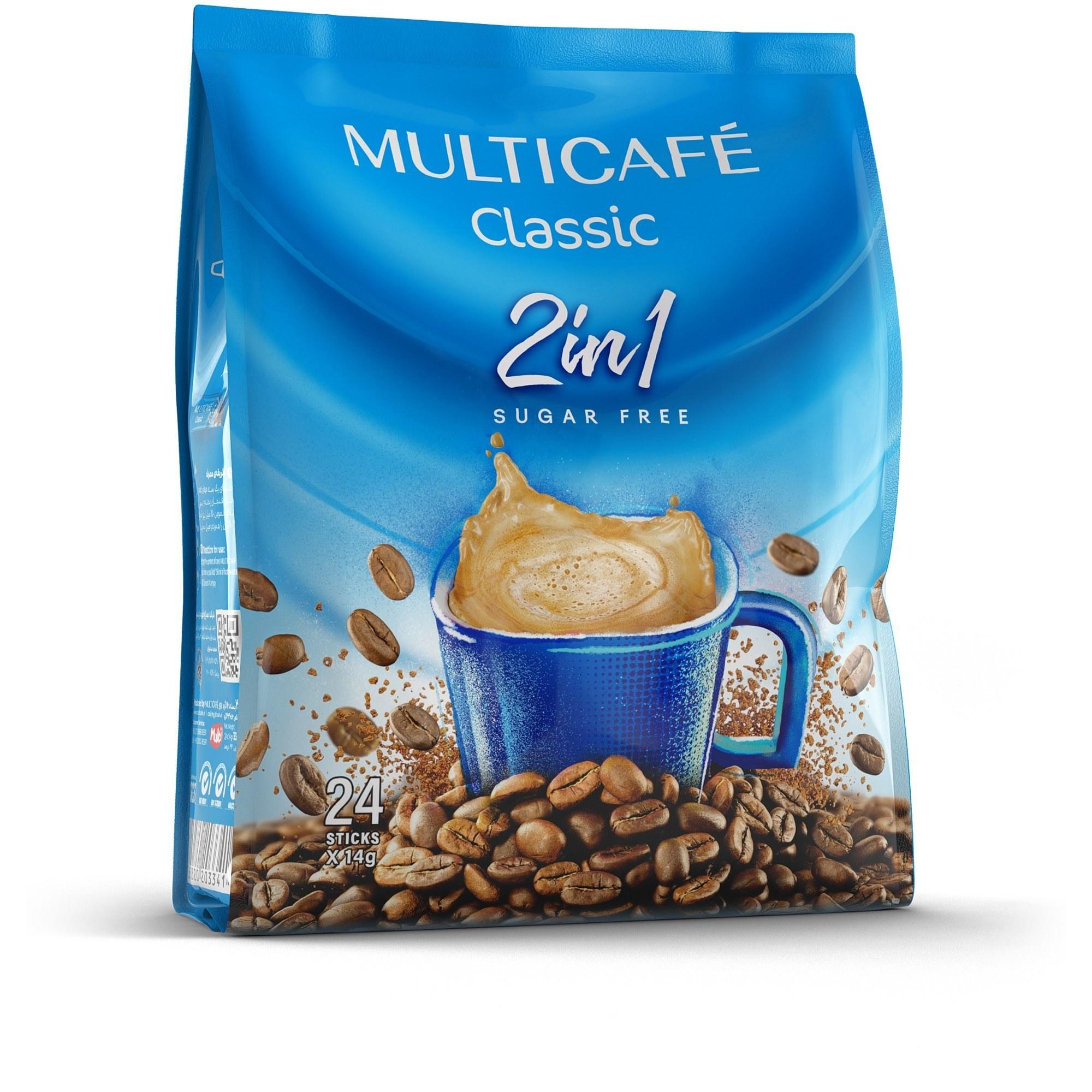 تصویر بسته 24 عددی کافی میکس بدون شکر 1*2 کلاسیک مولتی کافه 14 گرمی -