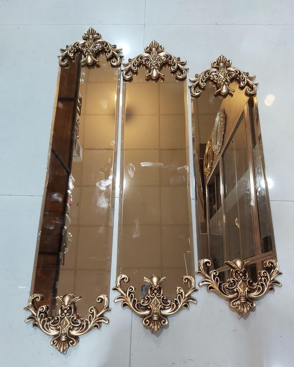 تصویر کد 6-192  آینه ۳تایی هرمی – آینه ای برنزی