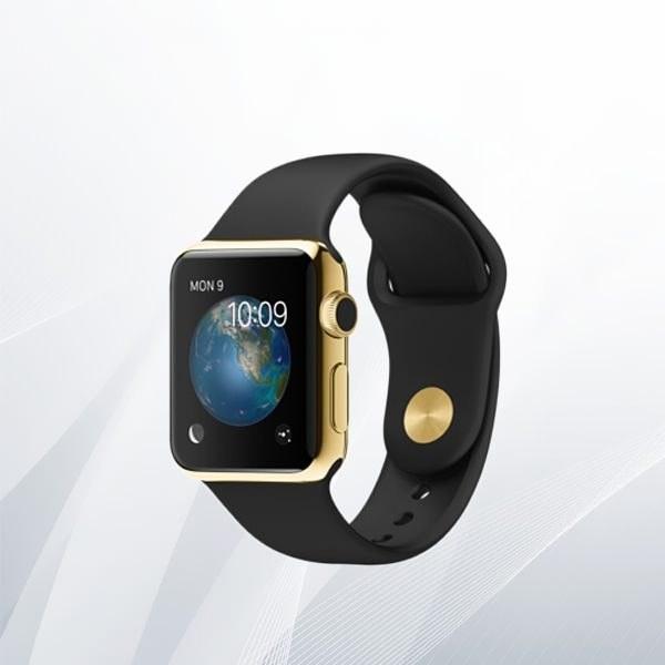 اپل واچ ادیشن زنانه طلا 18 عیار - Yellow Gold Black Sport Band MKL52