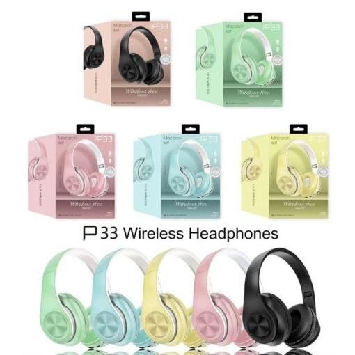 تصویر هدست بلوتوث ماکارون مدل P33 Macaron P33 Bluetooth Headset