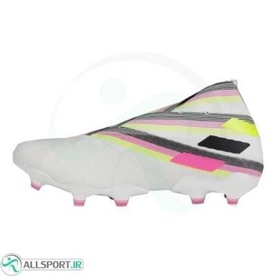 کفش فوتبال آدیداس نمزیز طرح اصلی سفید صورتی Adidas Nemeziz 19+ FG White Pink Solar Yellow
