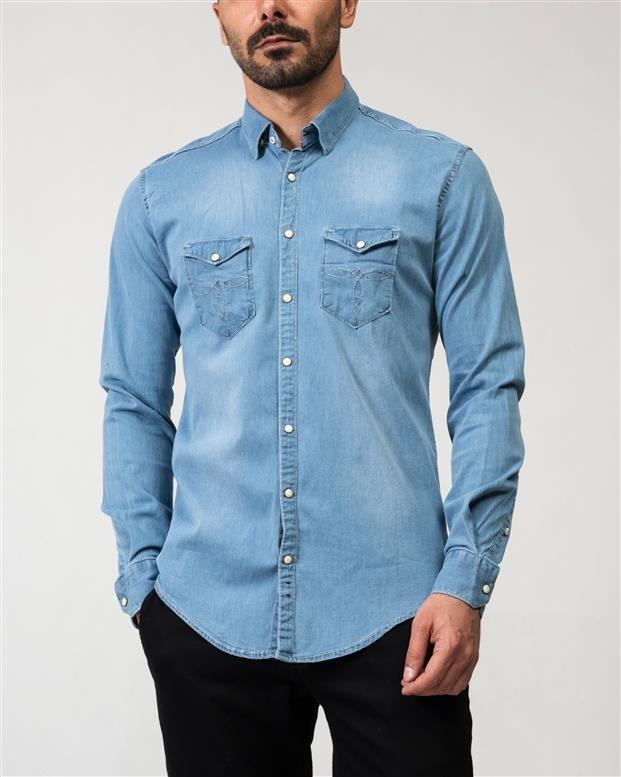پیراهن مردانه جین آبی روشن Ebra