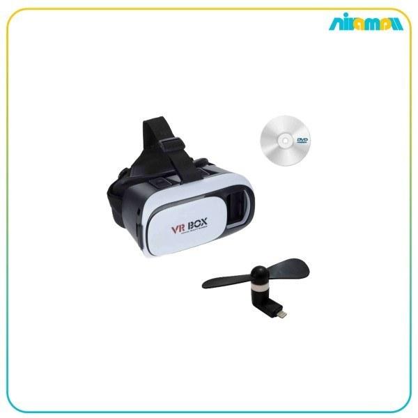تصویر هدست واقعیت مجازی وی آر باکس مدل VR Box به همراه DVD نرم افزار و پنکه همراه لایتنینگ ا VR Box virtual reality headset with DVD software and fan with Lightning VR Box virtual reality headset with DVD software and fan with Lightning