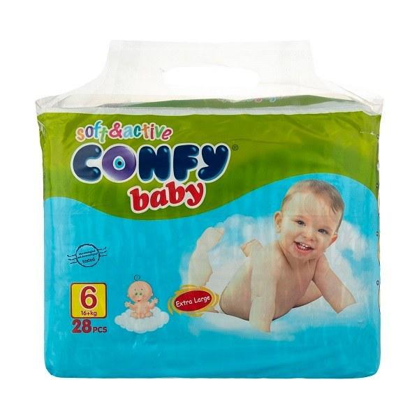 تصویر پوشک بچه کانفی سایز 6 بسته 28 عددی Confy Size 6 Diaper Pack of 28pcs