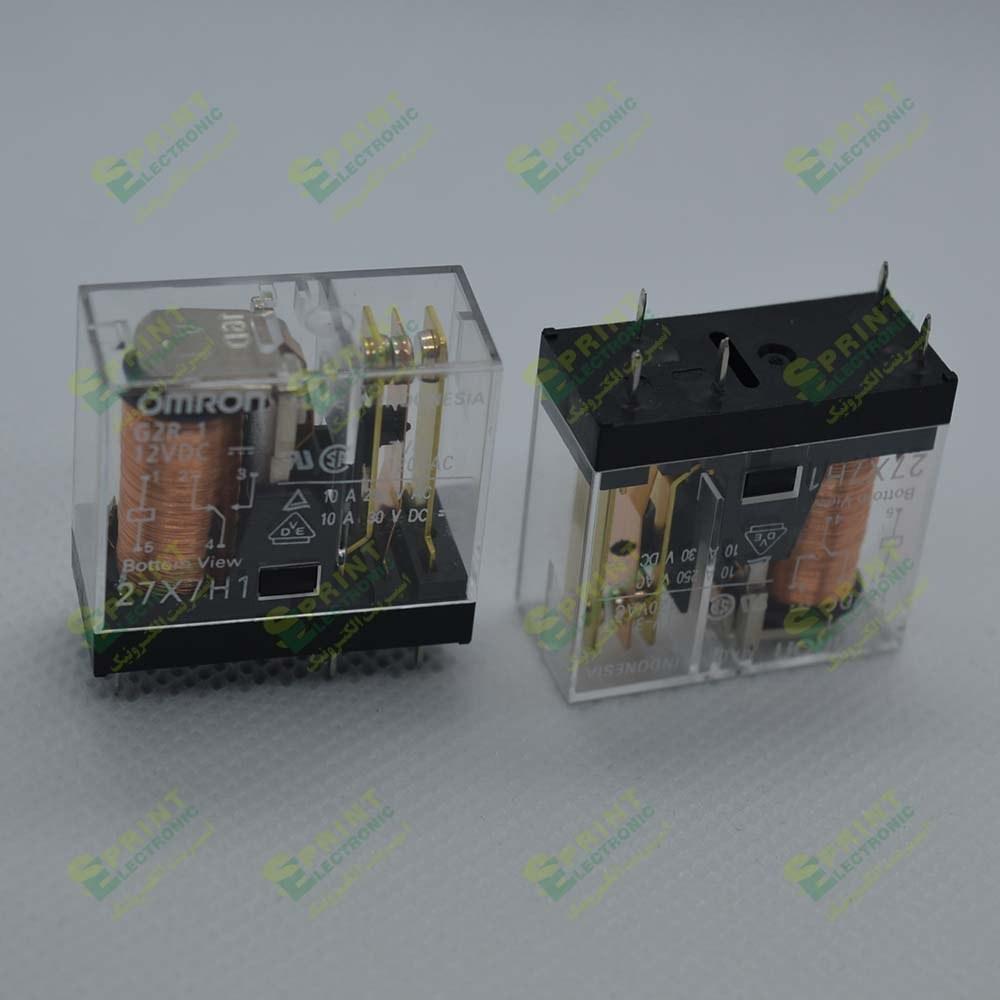 تصویر رله 12 ولت شیشه ای 5 پایه 10 آمپر Omron G2R-1-12VDC