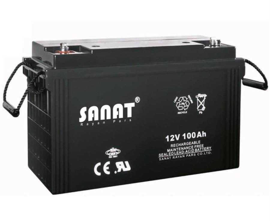 باتری یو پی اس صنعت رایان پارس ۱۲ ولت ۱۰۰ آمپر ساعت | SANAT 12V 100AH UPS Battery
