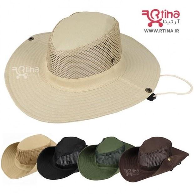 تصویر کلاه زنانه و مردانه آفتابی لبه دار تاشو با شبکه تنفسی مدل RT5