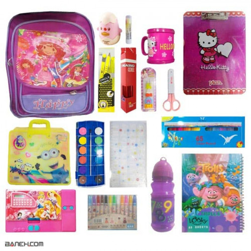 image پکیج لوازم تحریر دخترانه لاکچری کلاس 2 تا 4 Luxury Package Girls Luxury Stationery Package for Girls 2 to 4