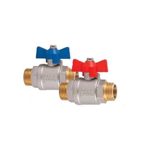 تصویر شیر غیر گازی دو سر رو پیچ ball valve with ALU. butterfly handle
