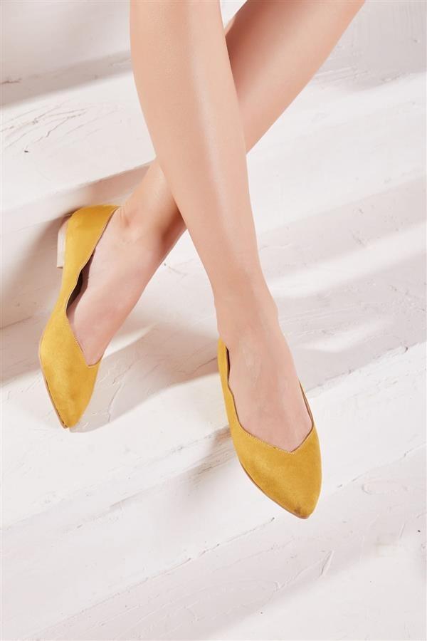 کفش چرم مصنوعی زنانه تخت زرد بامبی 3  