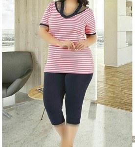 تی شرت شلوارک سایز بزرگ زنانه ترک - 7447 Miss Tiko |