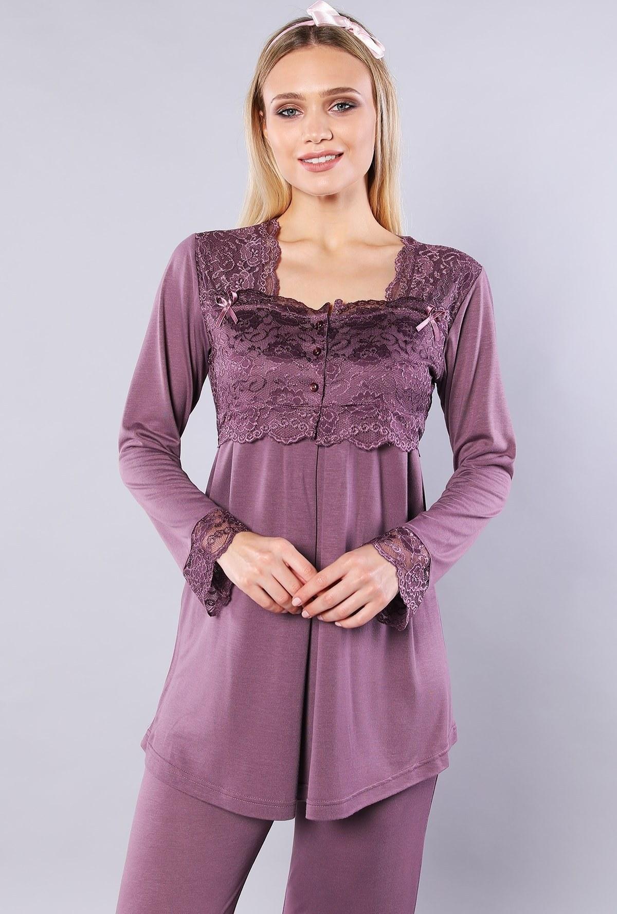 تصویر لباس راحتی زنانه توری بنفش برند Emose کد 1616977442