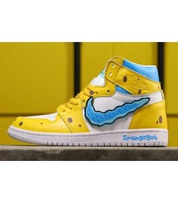 ست کفش مردانه و زنانه بسکتبال نایک ایر جردن وان طرح باب اسفنجی Nike Air Jordan 1 High SpongeBob