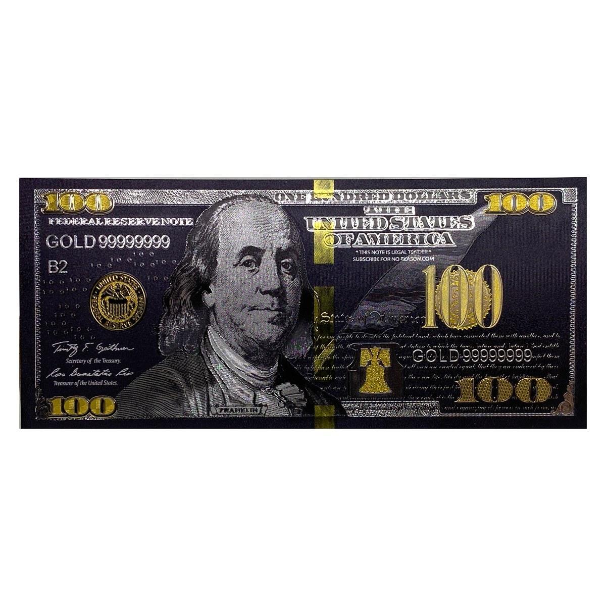 تصویر اسکناس 100 دلار آمریکا طرح بلک روکش آب طلا