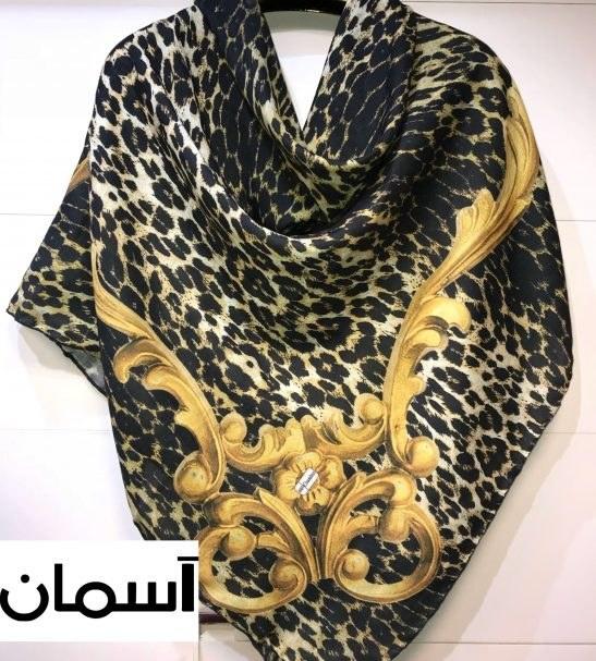 روسری نخی پاییزه طرح پلنگی 140×140