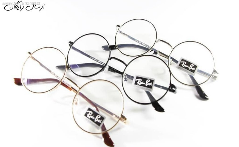 عینک شیشه گرد شفاف طرح طبی فریم طلایی کد 630 |