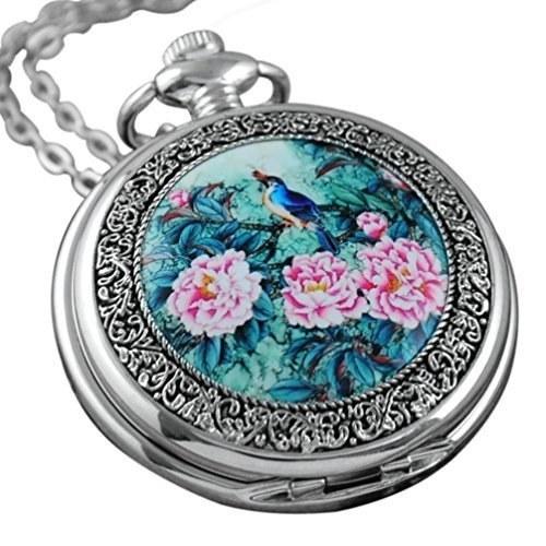 | VIGOROSO Quartz Beautiful Peony Bird Enamel Painting Steampunk Silver Pocket Watches Gift Box