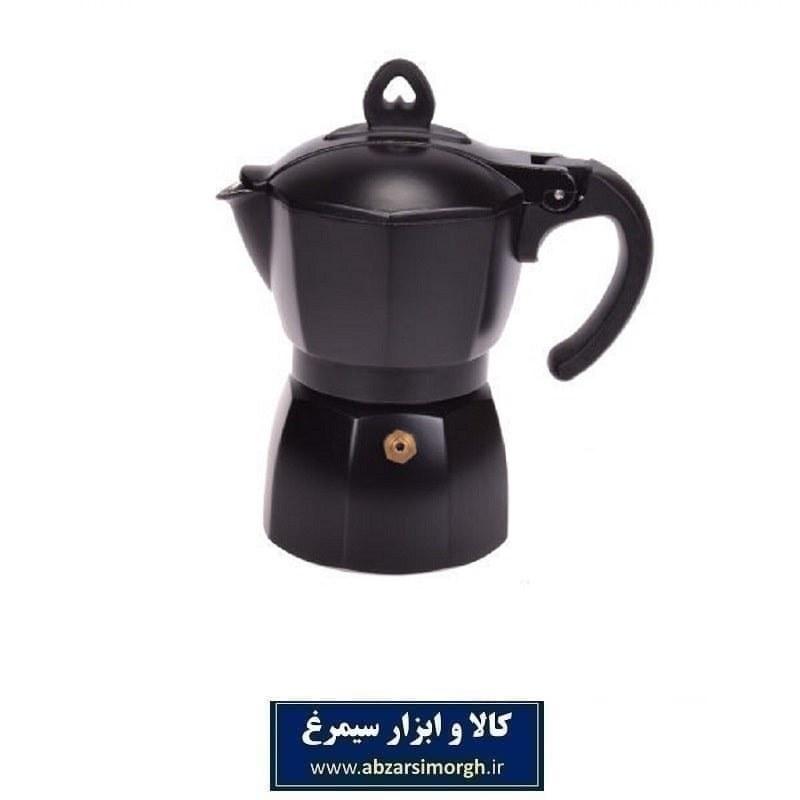 تصویر قهوه جوش موکا تفلون مشکی با رنگ کوره ای ۶ کاپ HGJ-008