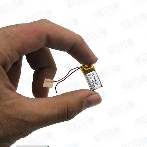 تصویر باتری هدفون بلوتوث لیتیومی تک سل 3.7V 160mAh دارای برد محافظ باطری کیفیت بالا 041018p 3.7v 160mah high quality battery