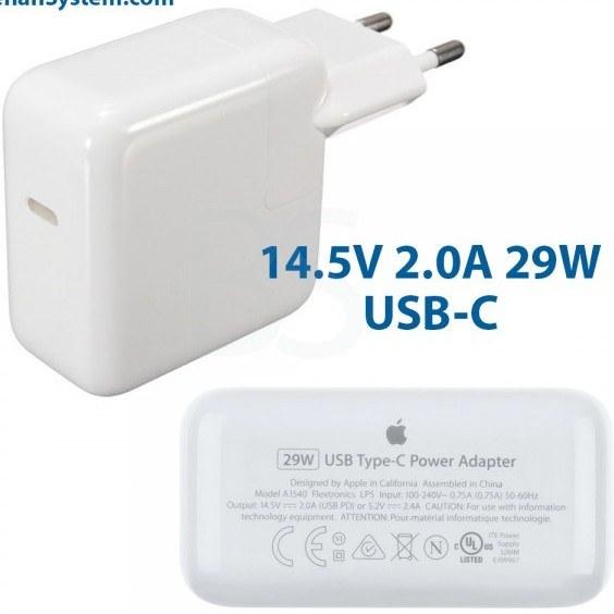 تصویر شارژر USB-C اورجینال اپل مک بوک 29 وات 14.5V 2.0A کیفیت ساخت بالا مشابه اصلی