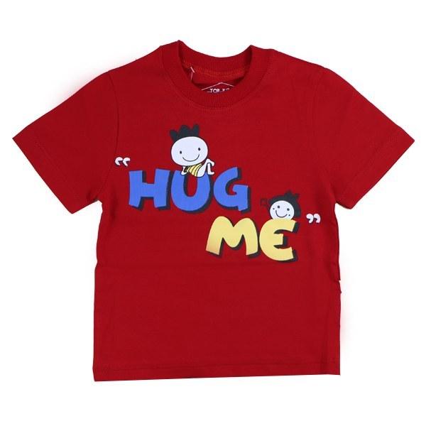 تیشرت اسپرت آستین کوتاه تاپ کیدز طرح Hug me رنگ قرمز