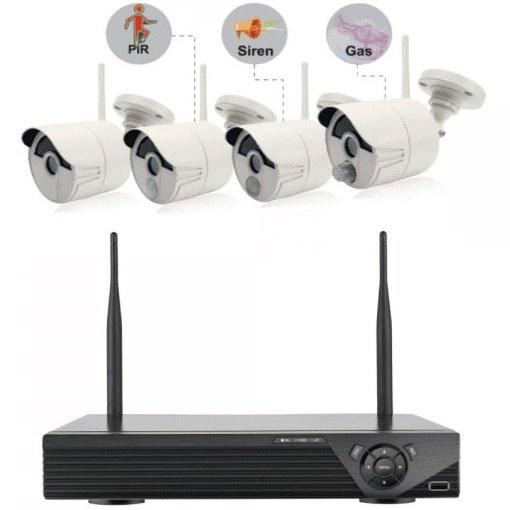 تصویر پک وایرلس دوربین مداربسته سنسور دار kvs04 CCTV Wireless Kit 1080p with Detectors and Sensors KVS04