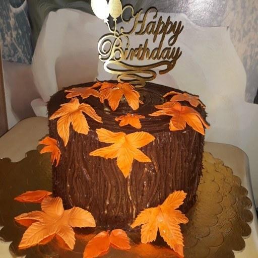 کیک تولد با تم برگ ریزان پاییز