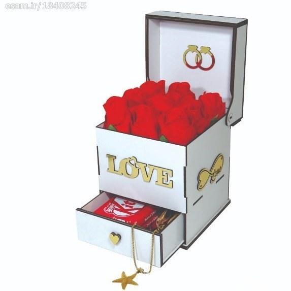 جعبه کادو ولنتاین هدیه باکس گل چوبی کد LB202