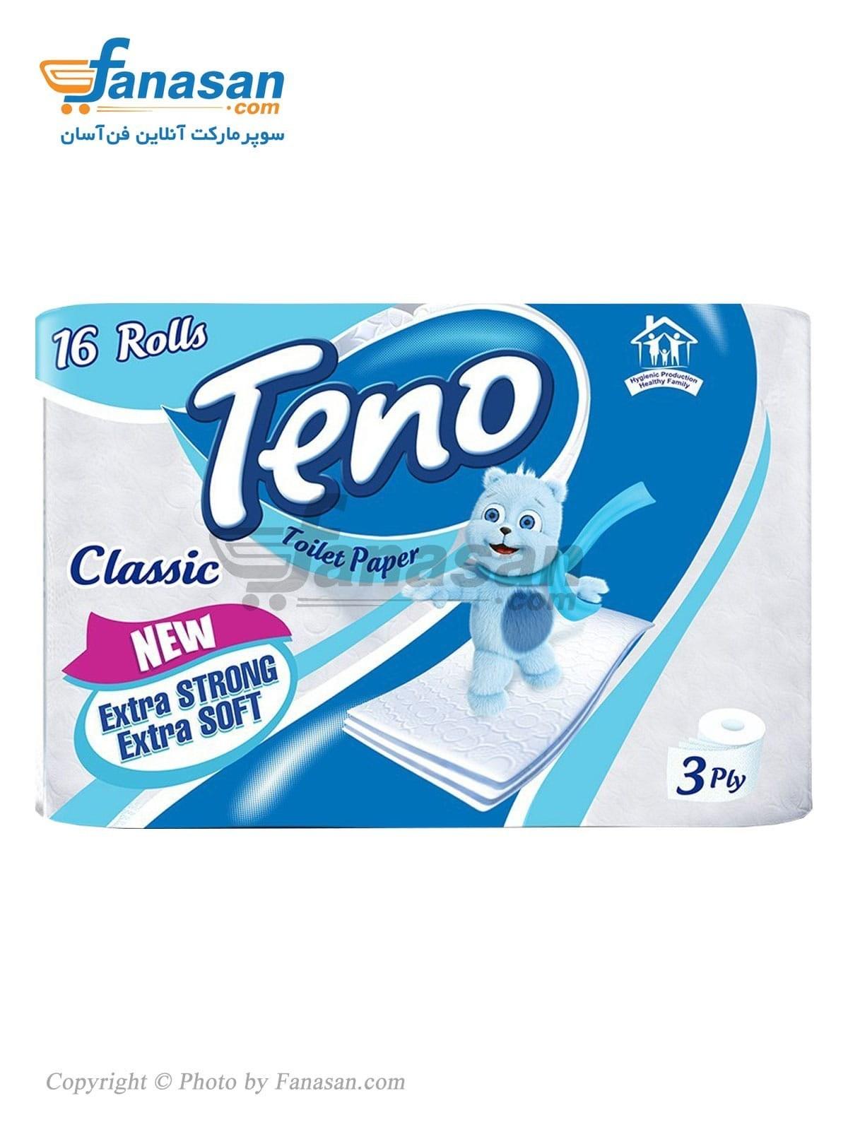 دستمال توالت تنو سه لایه شانزده رول | Teno Toilet paper 3 ply 16 rolls