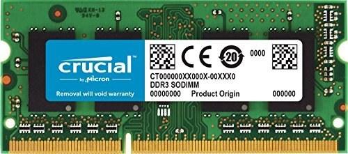 Crucial 8GB Single DDR3/DDR3L 1600 MT/S (PC3-12800) Unbuffered SODIMM 204-Pin Memory - CT102464BF160B