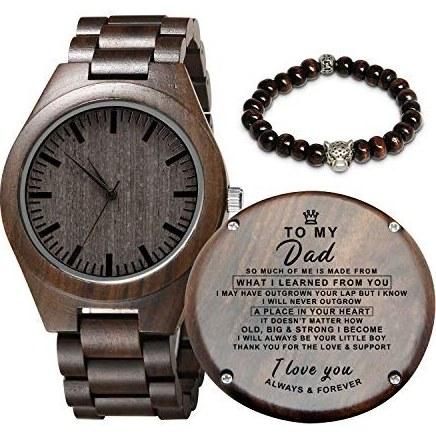 تصویر ساعت چوبی حکاکی شده برای پسر و دوست پسر ، هدیه دیده بان چوبی شخصی برای دوست پسر ، هدیه فارغ التحصیلی از مادر ، از پدر