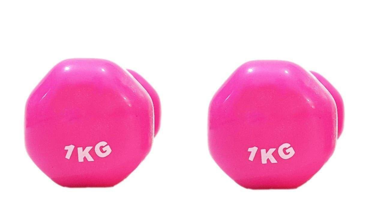 تصویر دمبل ایروبیک روکش دار 1 کیلوگرمی مدل 02-Pink بسته دو عددی