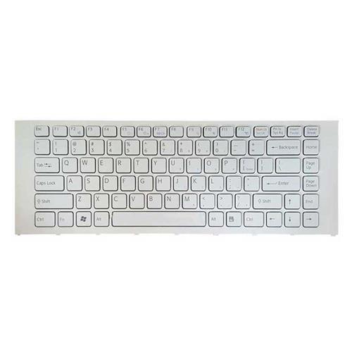 تصویر کیبرد لپ تاپ سونی VPC-EA سفید-با فریم Keyboard Laptop Sony VPC-EA White with Frame
