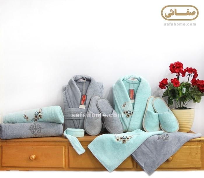 عکس سرویس حوله عروس و داماد Dalgali آبی - طوسی  سرویس-حوله-عروس-و-داماد-dalgali-ابی-طوسی