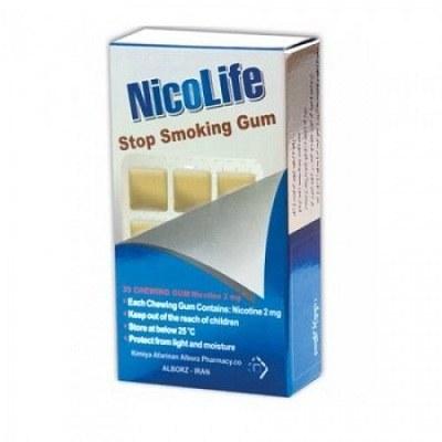 آدامس ترک سیگار نیکولایف نیکوتین 2 میلی گرم با طعم اکالیپتوس 30 عددی