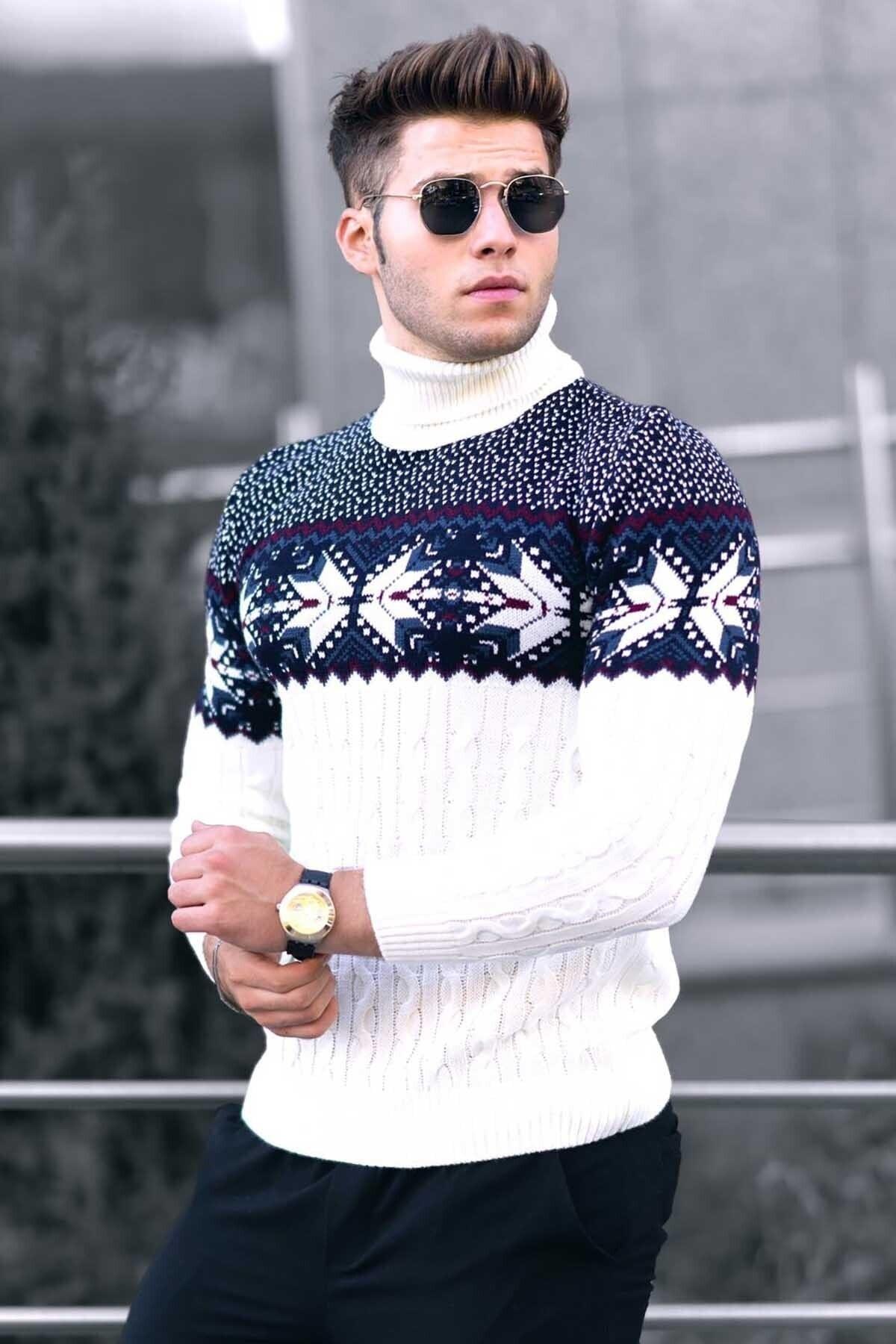 پلیور مردانه یقه اسکی طرحدار سفید برند Madmext کد 1609864326