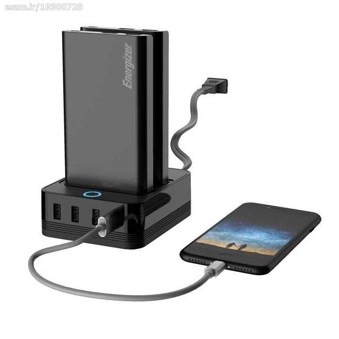 تصویر شارژر همراه  به همراه پایه شارژ مدل PS20000 ظرفیت 20000 میلی آمپر ساعت  انرجایزر Mobile charger with charging base for model PS20000, capacity 20,000 mAh, energizer