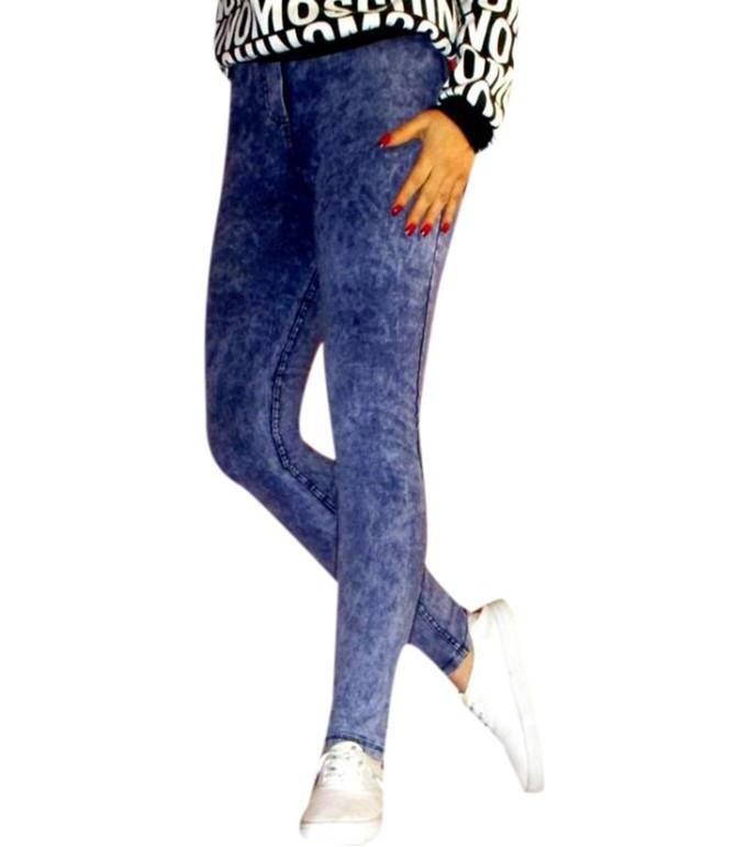 شلوار طرح لی زنانه پشت جیب دار آبی  