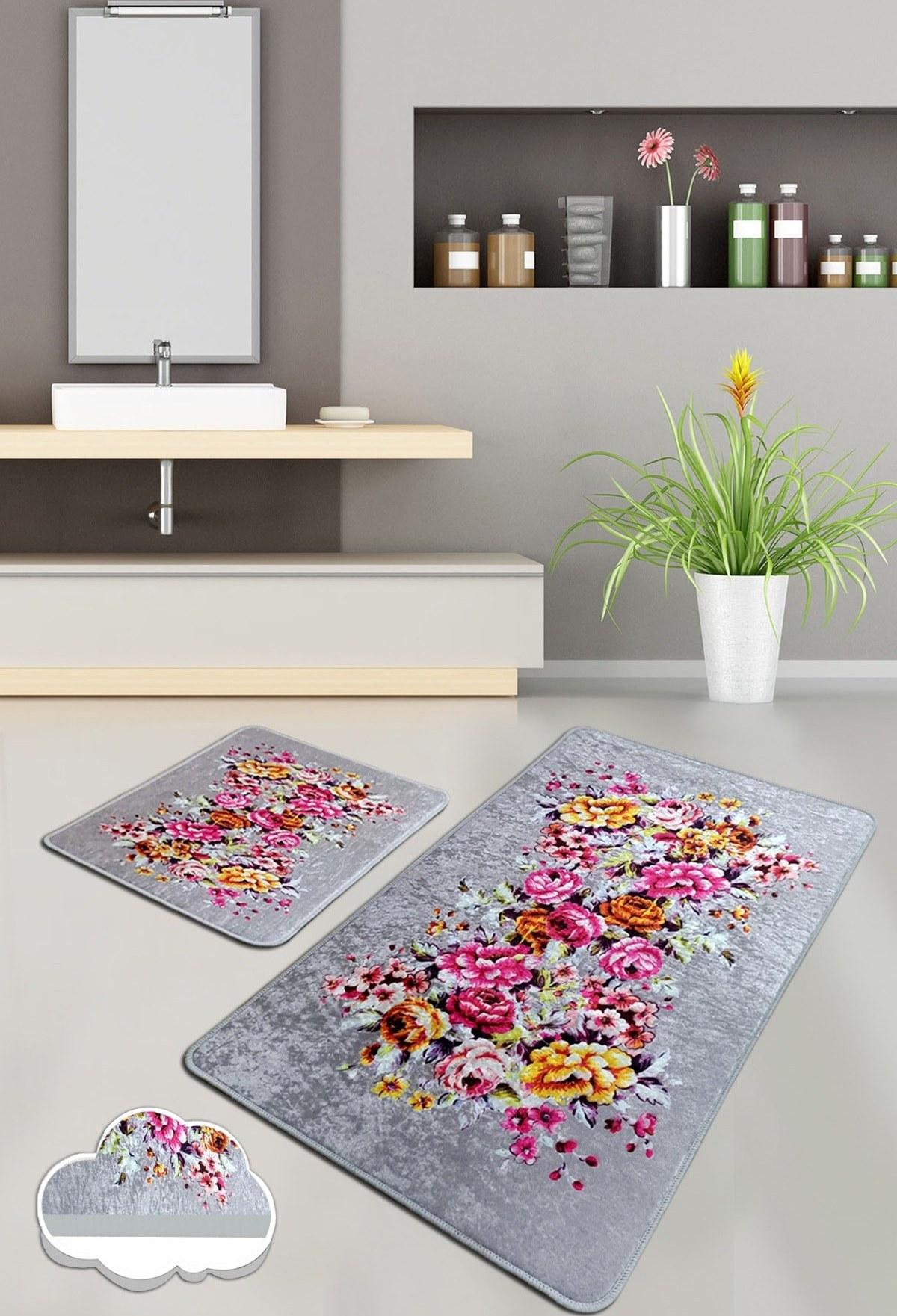تصویر زیرپایی حمام فرش ست قابل شستشو کف لیز نمیخورد 2تکه برند Chilai Home کد 1617720573