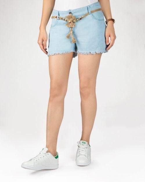 شلوارک جین کاغذی آبی روشن زنانه  