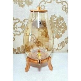 تصویر کلمن شیشه ای مدل اریکا شامپاینی پایه دار چوبی