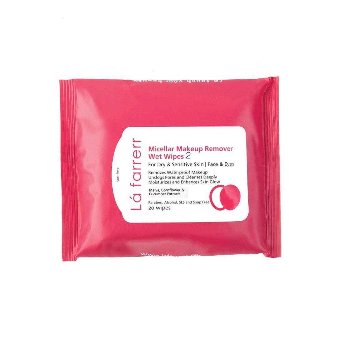 تصویر دستمال مرطوب آرايش پاک کن مخصوص پوستهای خشک و حساس لافارر