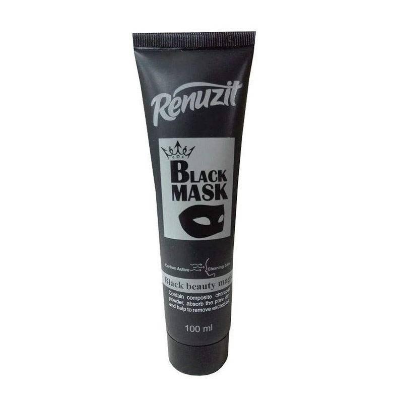 تصویر ماسک صورت رینوزیت مدل Black mask carbon active حجم 100 میلی لیتر