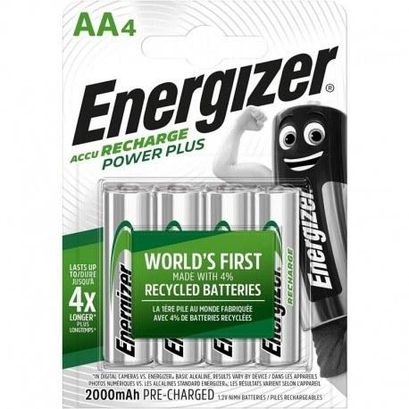تصویر باتری قلمی شارژی AA پاورپلاس انرجایزر 4 عددی 2000 میلی آمپر Energizer