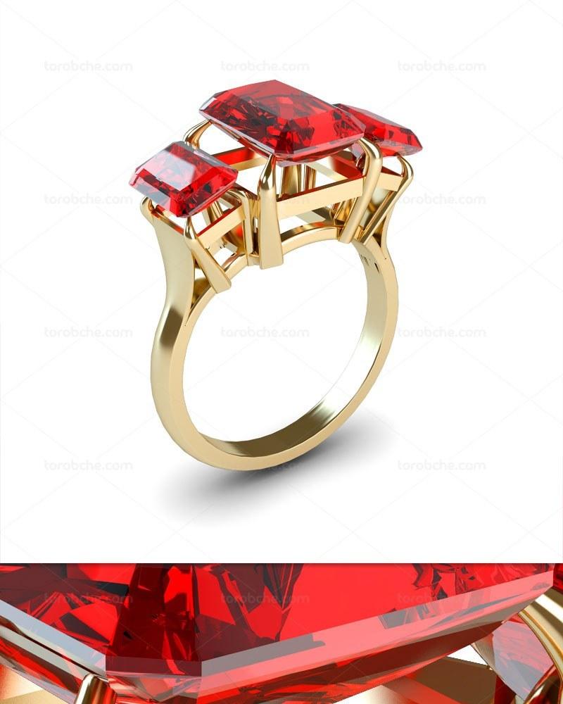 تصویر عکس انگشتر طلا با نگین یاقوت سرخ