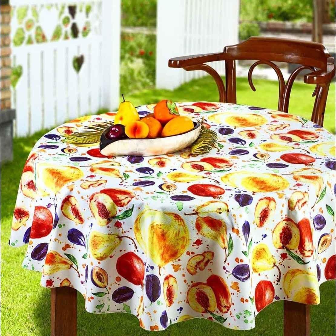 تصویر رومیزی سفره ای پانو کتان رزین تاژ طرح میوه Fruit